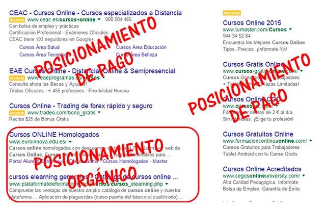 Posicionamiento orgánico vs pago